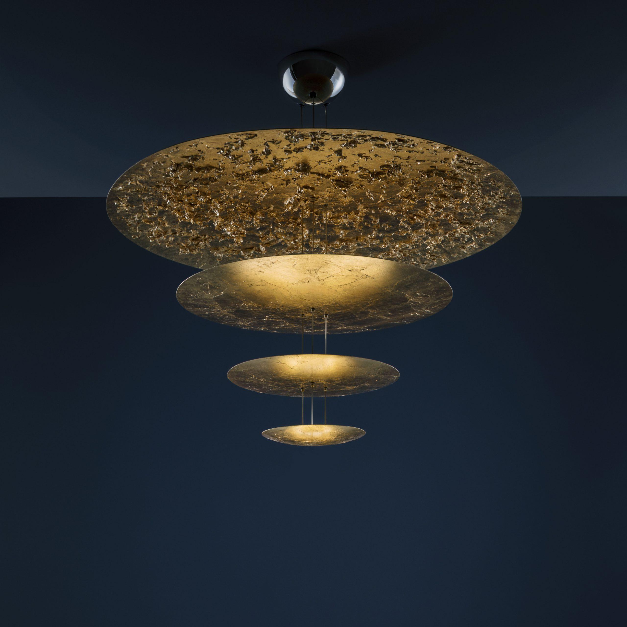 Machine nan limyè F lanp pendant - / ki ap dirije - Ø 120 x H 145 cm - 4 disk lò Catellani & Smith Enzo Catellani