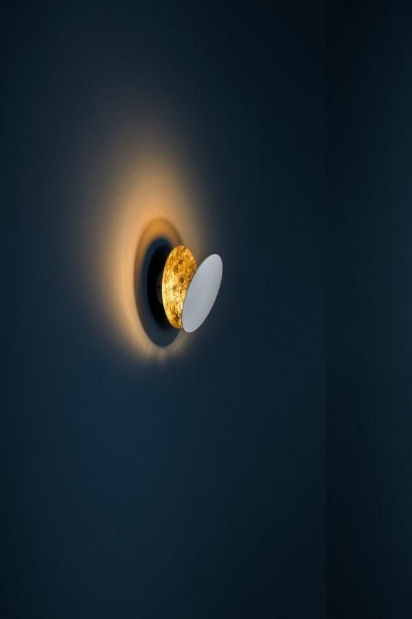 Lampada Da Parete Lederam W - / LED - 2 dischi Ø 25 cm Bianco|Oro Catellani & Smith Enzo Catellani