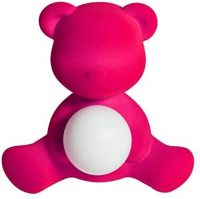 Lampe de table sans fil Teddy Girl finition velours bleu clair Qeeboo Stefano Giovannoni 1