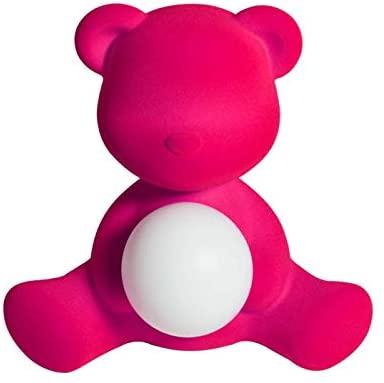 Lámpara de mesa inalámbrica Teddy Girl Terciopelo Azul claro Qeeboo Stefano Giovannoni 1
