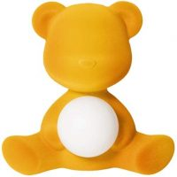 Lampe de table sans fil Teddy Girl finition velours or foncé Qeeboo Stefano Giovannoni 1