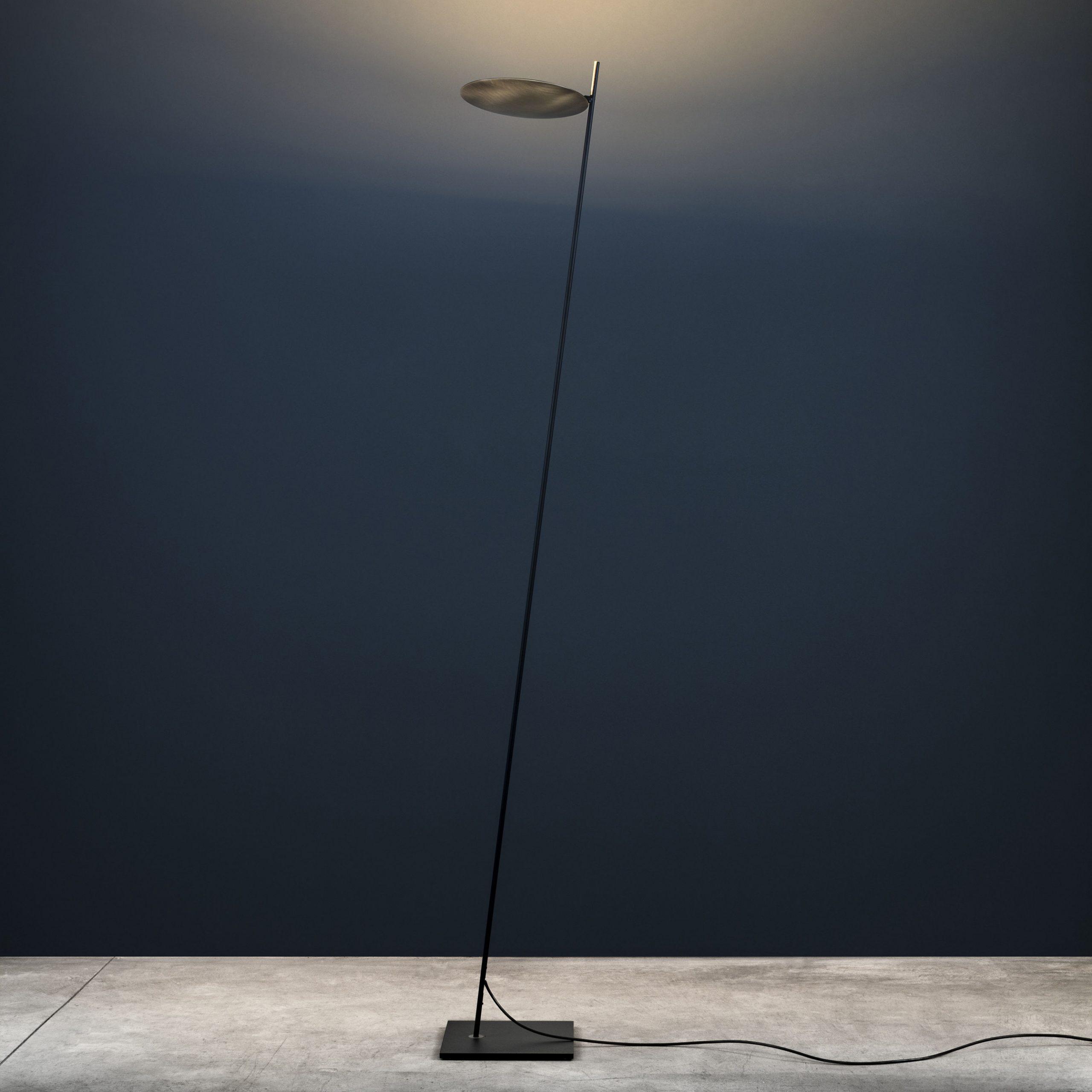 Lederam Φωτιστικό δαπέδου F0 - / LED - H 190 cm Μαύρο | Catellani & Smith Brass Enzo Catellani