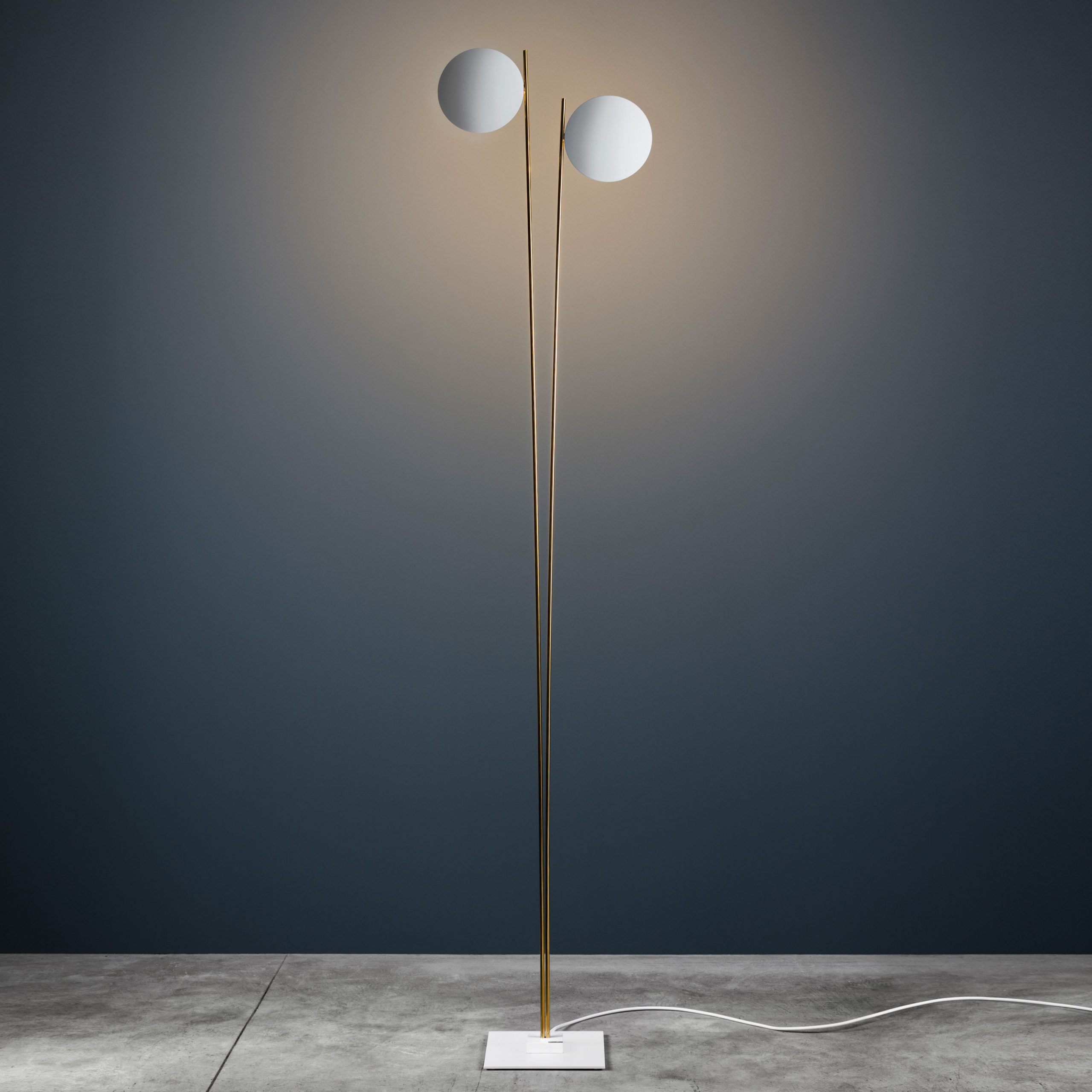Lederam Floor Lamp F2 - / LED - H 198 cm Blan | Catellani & Smith Gold Enzo Catellani