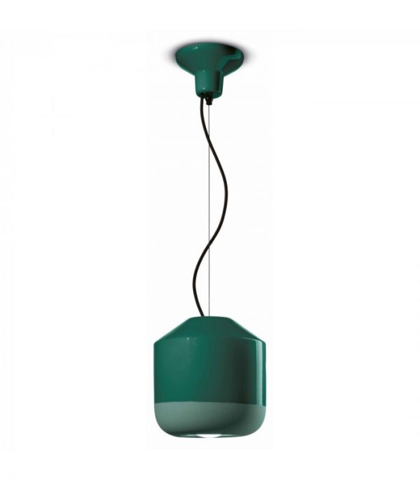 Suspension Lamp Bellota C2540 Bottle Green Ferroluce 1