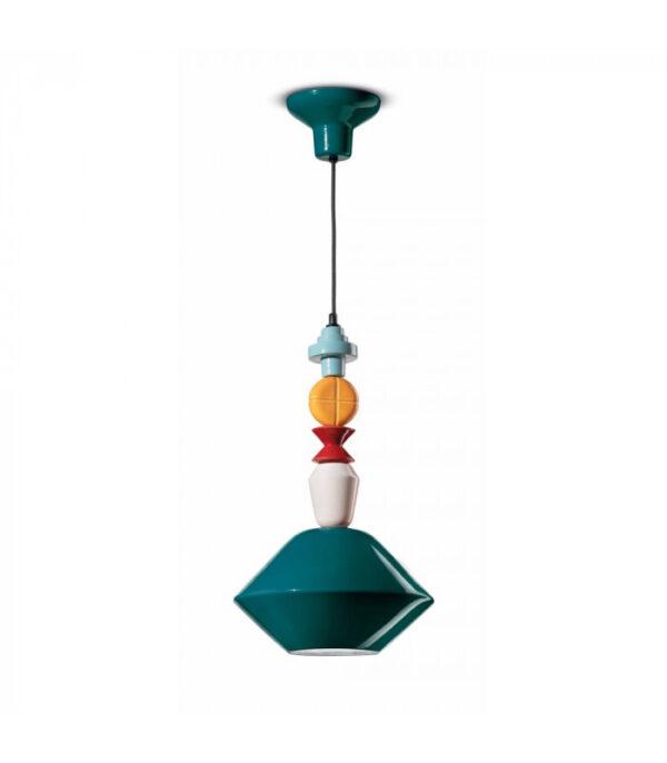 Sispansyon lanp Lariat C2510 petwòl vèt | Multicolor Ferroluce 1