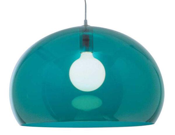 Lampada a sospensione FL/Y - Ø 52 cm Blu petrolio Kartell Ferruccio Laviani 1