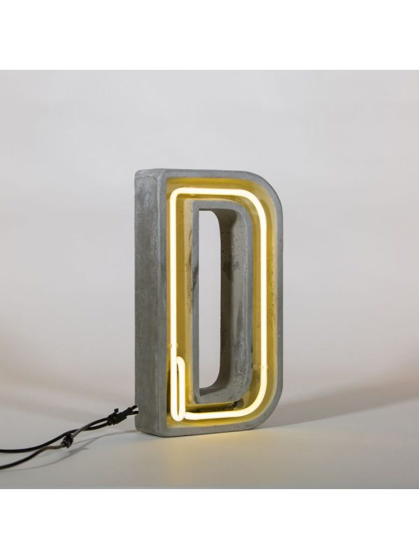 Alphacrete Table Lamp - White Letter D | Gray | Seletti BBMDS Cement