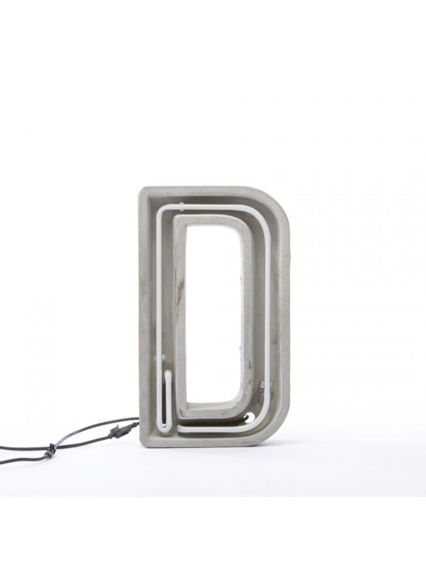 Candeeiro de Mesa Alphacrete - Branco Letra D | Cinza | Cimento Seletti BBMDS