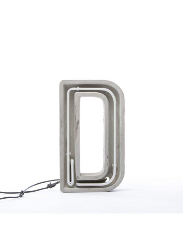 Alphacrete Πίνακας Λάμπα - Λευκό γράμμα D | Γκρι | Seletti BBMDS Τσιμέντο
