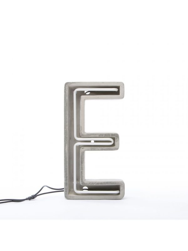 Alphacrete Table Lamp - Letter E White | Gray | Seletti BBMDS Cement