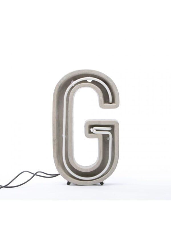 Lampe de table Alphacrete - Lettre G Blanc | Gris | Béton Seletti BBMDS