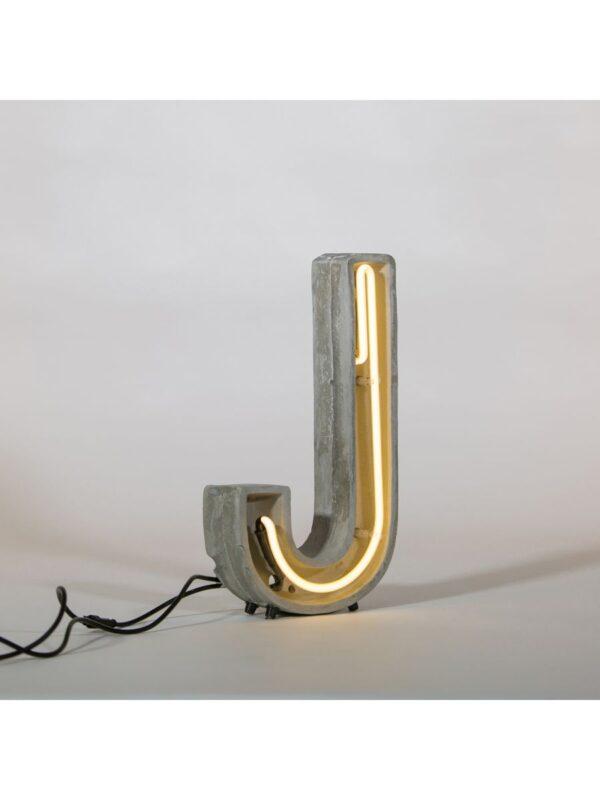 Lampada da Tavolo Alphacrete -  Lettera J Bianco|Grigio|Cemento Seletti BBMDS