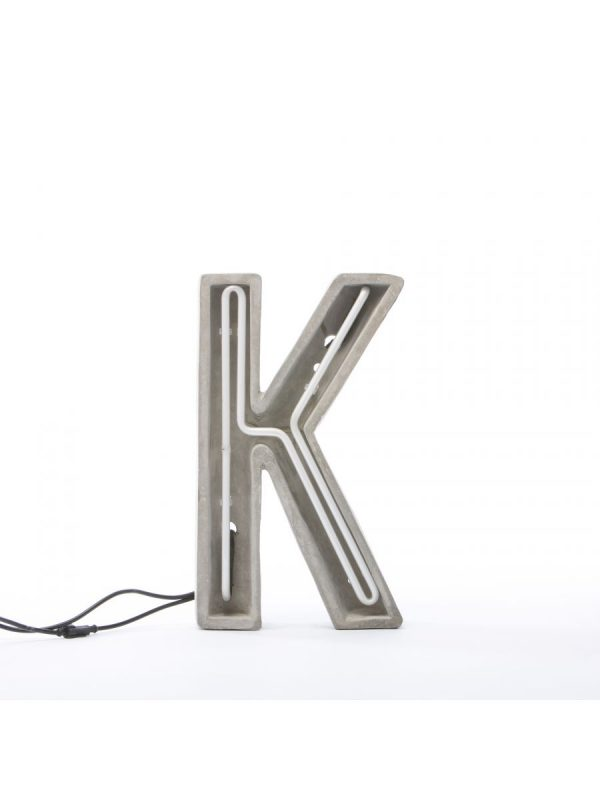 Alphacrete Table Lamp - White Letter K | Gray | Seletti BBMDS Cement