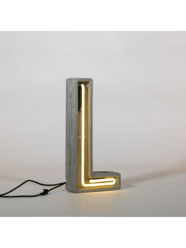 Lampe de table Alphacrete - Lettre L Blanc | Gris | Béton Seletti BBMDS