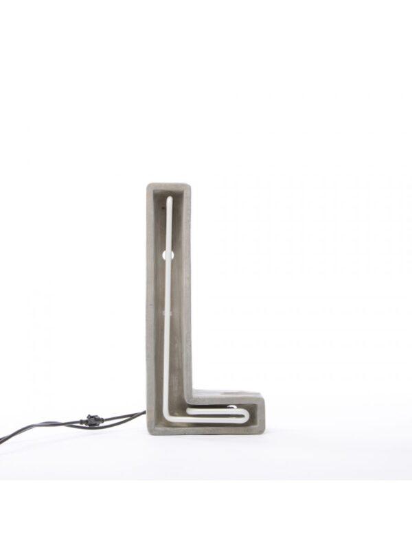 Alphacrete Table Lamp - Letter L White | Gray | Concrete Seletti BBMDS