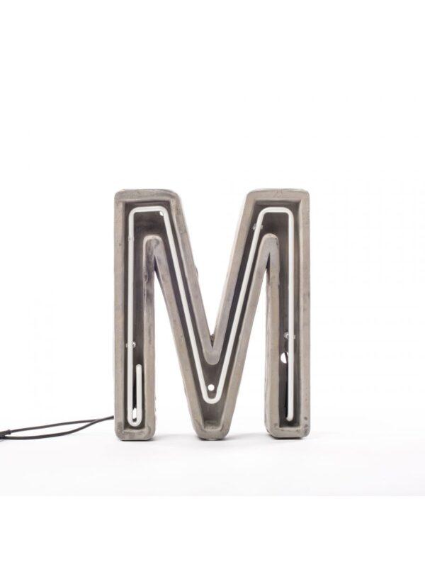 Alphacrete Πίνακας Λάμπα - Επιστολή M Λευκό | Γκρι | Seletti BBMDS Τσιμέντο