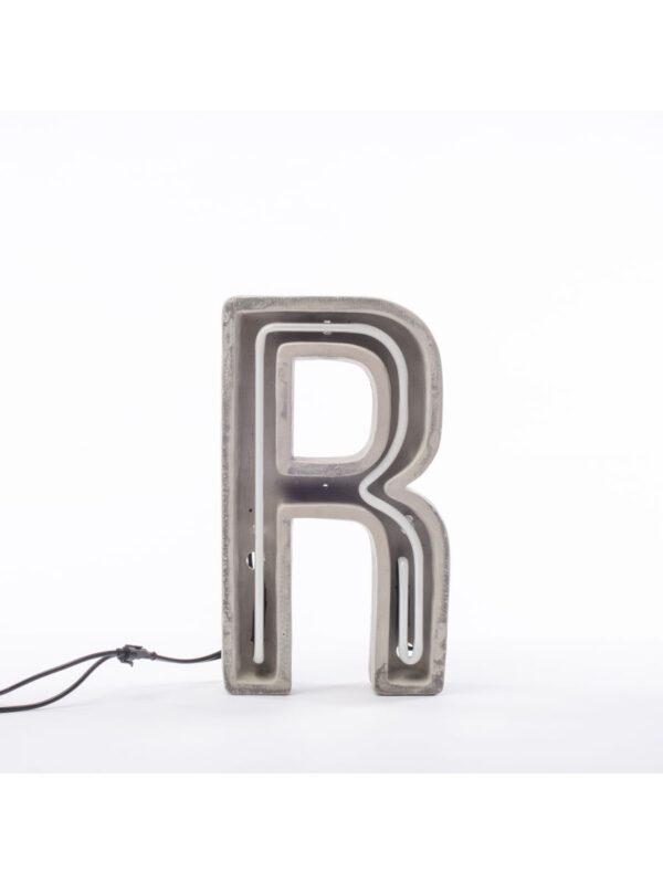 Alphacrete Πίνακας Λάμπα - Επιστολή R Λευκό | Γκρι | Σκυρόδεμα Seletti BBMDS
