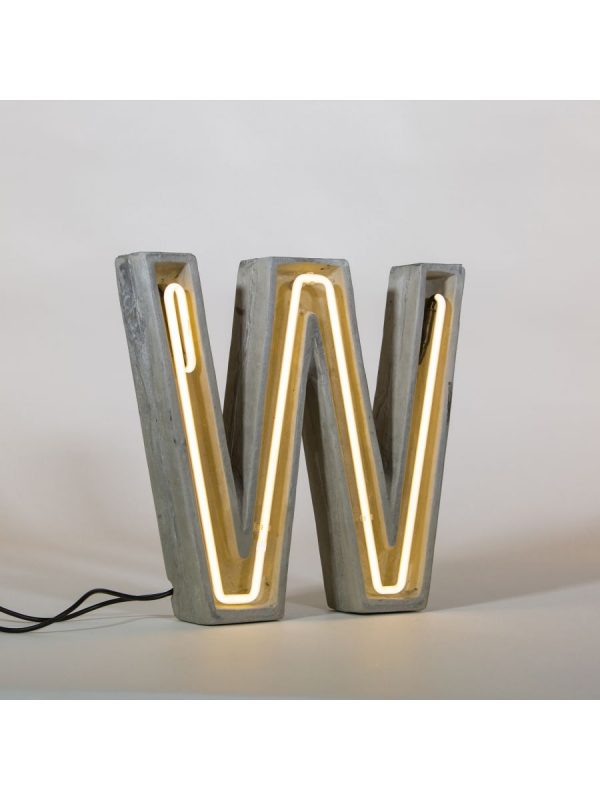 Alphacrete Table Lamp - White Letter W | Gray | Seletti BBMDS Cement