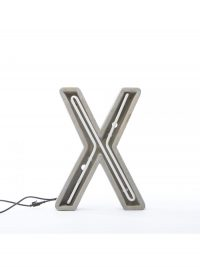 Alphacrete Table Lamp - Letter X White | Gray | Cement Seletti BBMDS