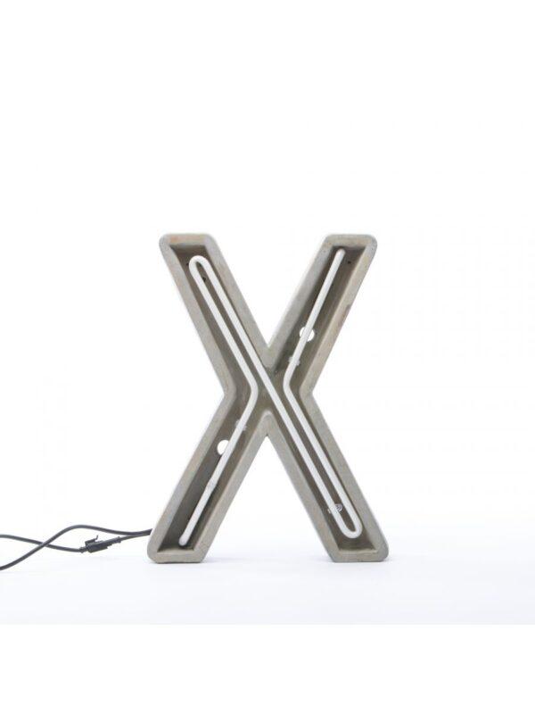 Alphacrete Πίνακας Λάμπα - Επιστολή Χ Λευκό | Γκρι | Τσιμέντο Seletti BBMDS