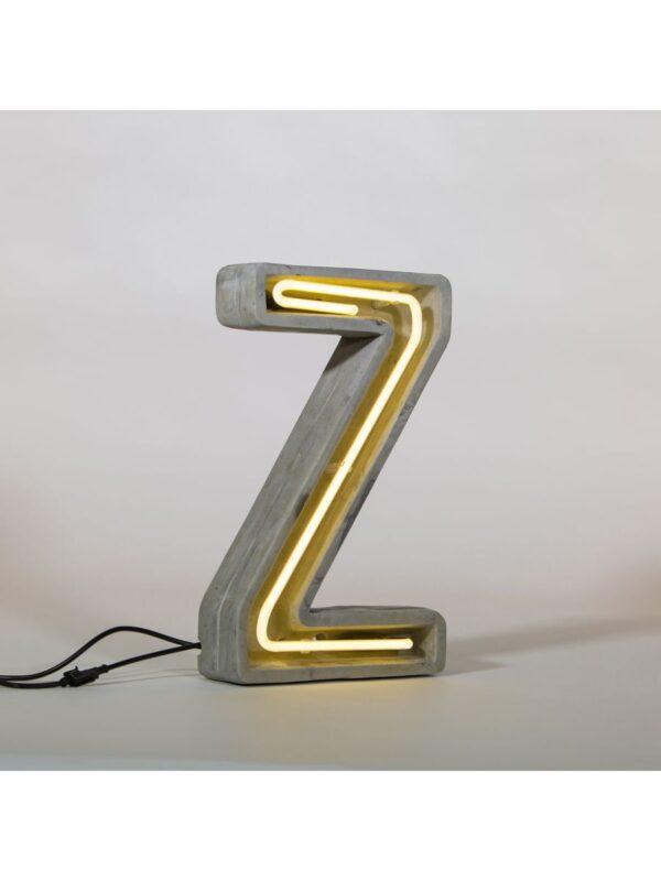 Lámpara de mesa Alphacrete - Letra Z Blanco | Gris | Concreto Seletti BBMDS