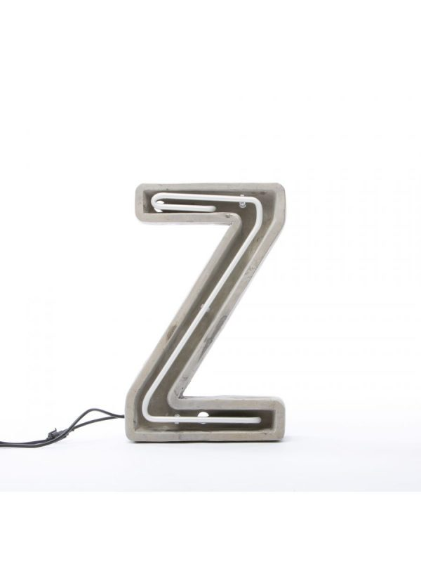 Alphacrete Πίνακας Λάμπα - Γράμμα Z Λευκό | Γκρι | Σκυρόδεμα Seletti BBMDS