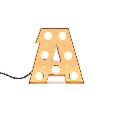 Lámpara de mesa Caractère Applique - Letter A Bright Gold Seletti Selab | Studio Badini Creatim