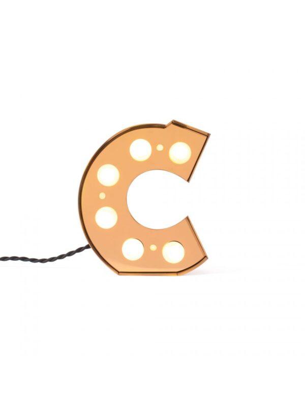 Lámpara de mesa Caractère Applique - Letra C Brillante Oro Seletti Selab Studio Badini Creatim