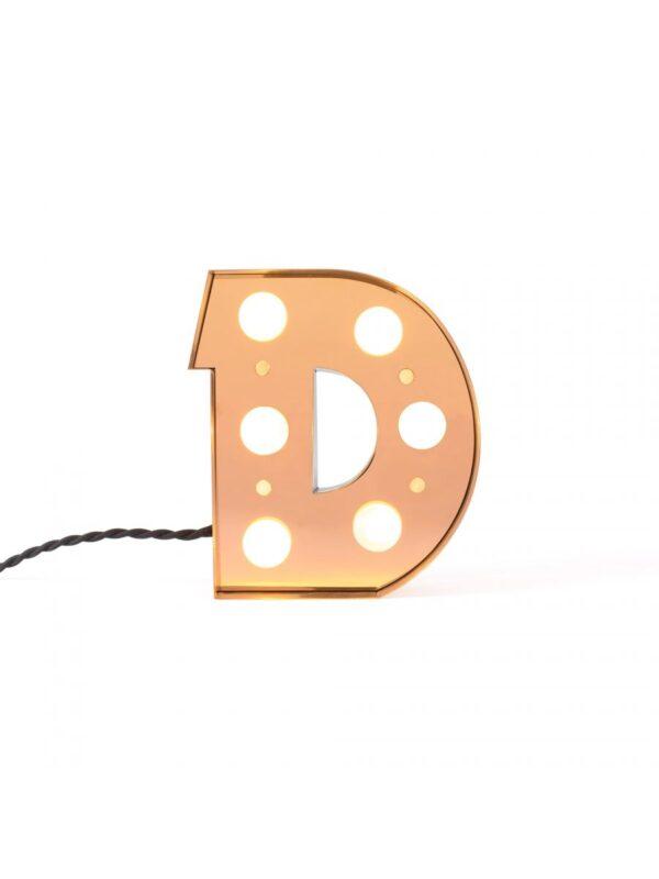 Lampada da Tavolo Applique Caractère - Lettera D Oro Brillante Seletti Selab Studio Badini Creatim