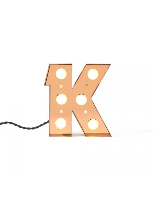 Table Lamp Caractère Wall Lamp - Letter K Bright Gold Seletti Selab | Studio Badini Creatim