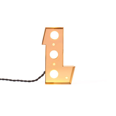 Table Lamp Caractère Wall Lamp - Letter L Shiny Gold Seletti Selab | Studio Badini Creatim