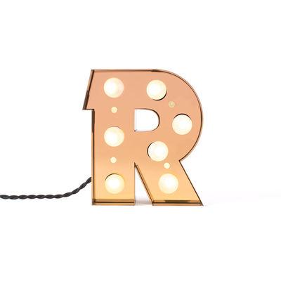 Lampada da Tavolo Applique Caractère - Lettera R Oro Brillante Seletti Selab Studio Badini Creatim