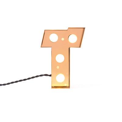 Lampada da Tavolo Applique Caractère - Lettera T Oro Brillante Seletti Selab Studio Badini Creatim