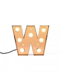 Table Lamp Caractère Applique - Letter W Brilliant Gold Seletti Selab | Studio Badini Creatim