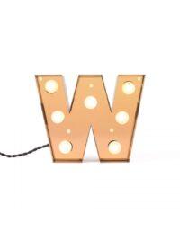Tischleuchte Caractère Applique - Buchstabe W Brilliant Gold Seletti Selab | Studio Badini Creatim