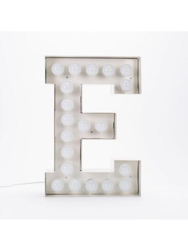Candeeiro de Chão Vegaz - Letra E - H 60 cm Seletti Branco Selab