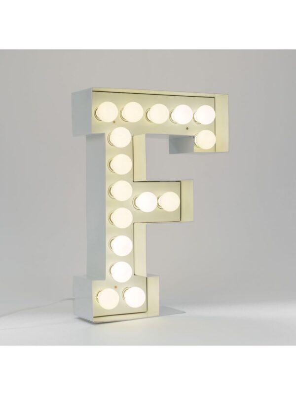 Vegaz Floor Lamp - Letter F - H 60 cm White Seletti Selab