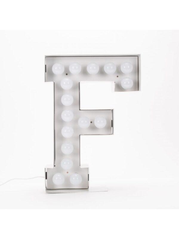 Lampada da Terra Vegaz - Lettera F - H 60 cm Bianco Seletti Selab