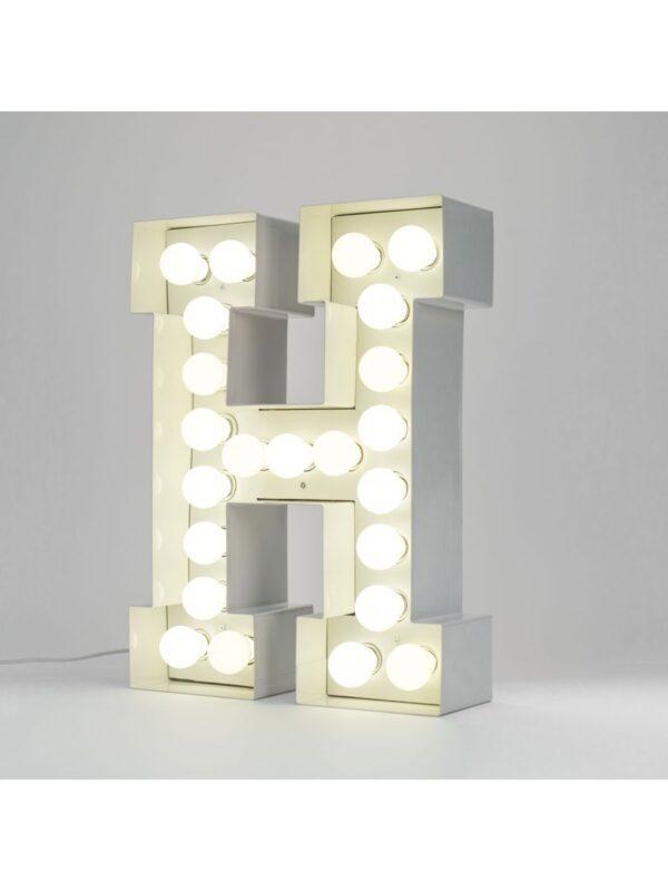 Candeeiro de Chão Vegaz - Letra H - H 60 cm Branco Seletti Selab