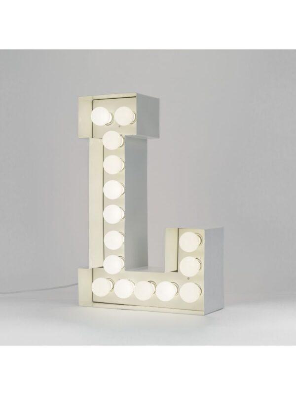 Vegaz Floor Lamp - Letter L - H 60 cm White Seletti Selab