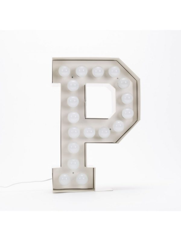 Λαμπτήρας δαπέδου Vegaz - Επιστολή P - H 60 cm Λευκό Seletti Selab
