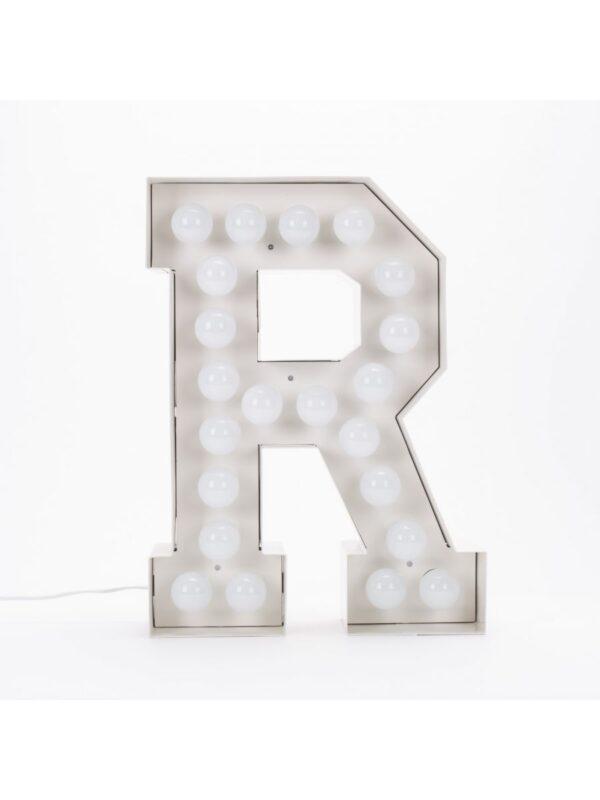 Lampadaire Vegaz - Lettre R - H 60 cm Blanc Seletti Selab