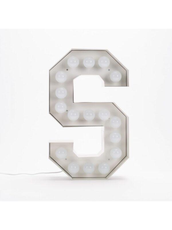 Lámpara de pie Vegaz - Letra S - H 60 cm Blanco Seletti Selab