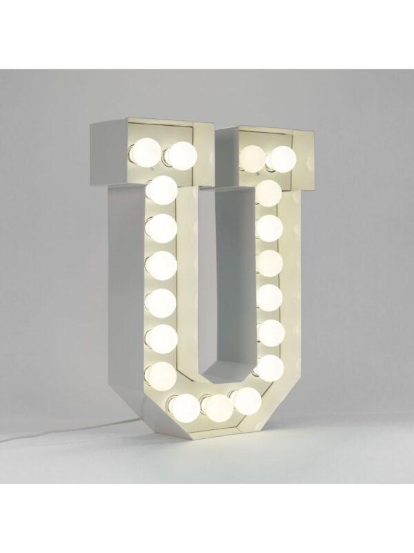 Lampada da Terra Vegaz - Lettera U - H 60 cm Bianco Seletti Selab