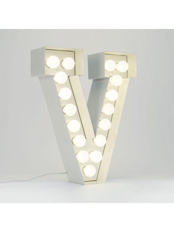 Vegaz Stehleuchte - Buchstabe V - H 60 cm Weiß Seletti Selab