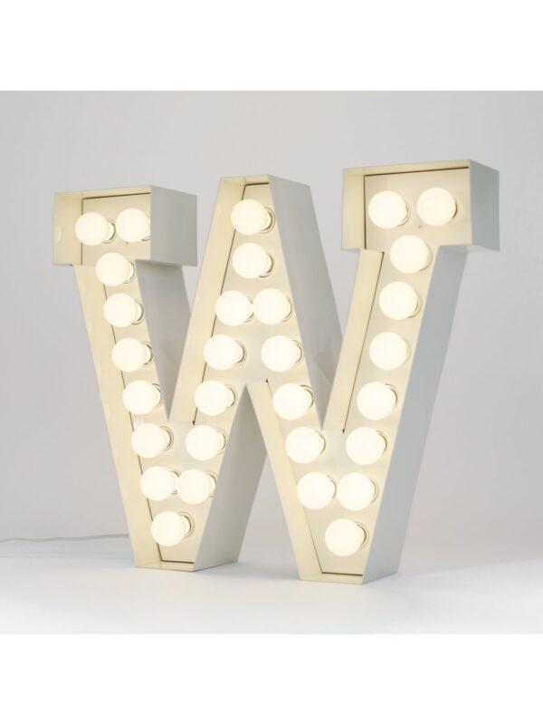 Lámpara de pie Vegaz - Letra W - H 60 cm Blanco Seletti Selab