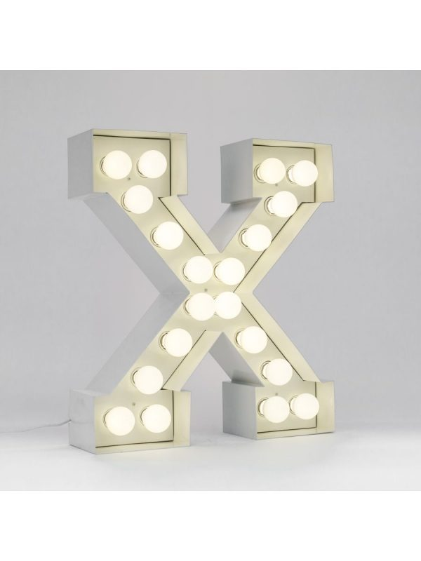 Lampada da Terra Vegaz - Lettera X - H 60 cm Bianco Seletti Selab