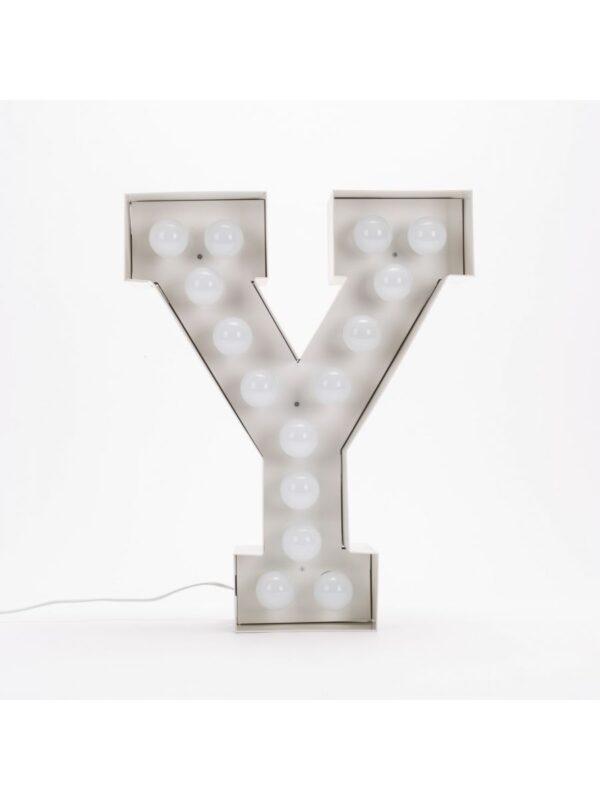 Candeeiro de Chão Vegaz - Letra Y - H 60 cm Seletti Branco Selab