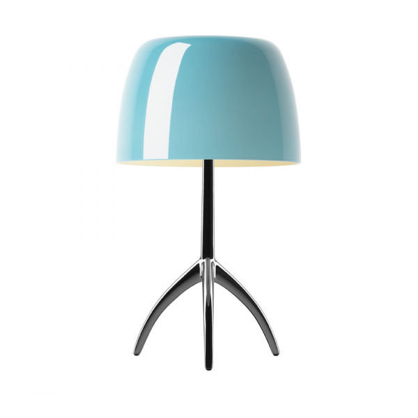 Table lamp Lumiere TL L Dark chrome | turquoise Foscarini Rodolfo Dordoni 1