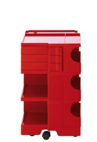 A storage unit Boby cm 73 - 3 drawers Red B-LINE Joe Colombo